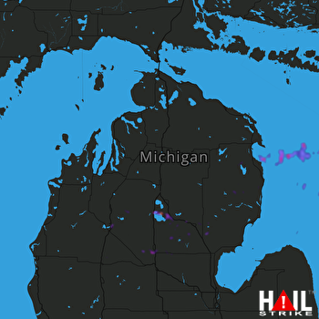 Hail Map Cadillac, MI 07-13-2018