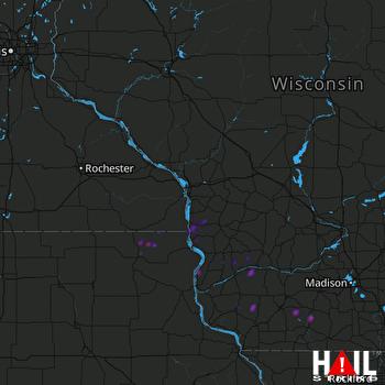 Hail Map Blanchardville, WI 05-16-2019