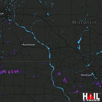 Hail Map Janesville, WI 07-18-2019
