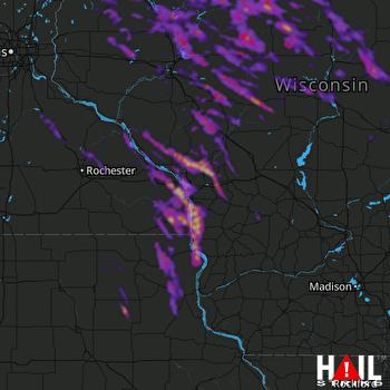 Hail Map Winona, MN 07-27-2021
