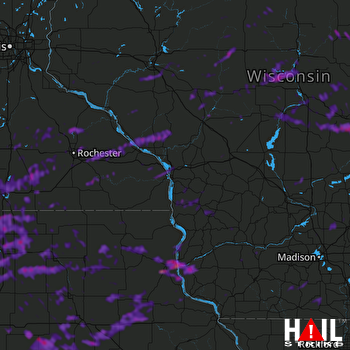 Hail Map Neenah, WI 08-28-2021