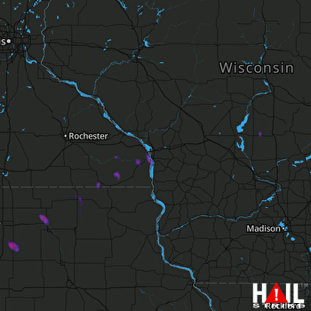 Hail Map Alden, MN 03-07-2017
