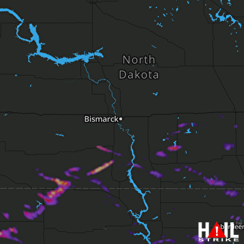 Hail Map Oakes, ND 07-24-2021