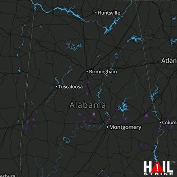 Hail Map Opelika, AL 02-07-2018