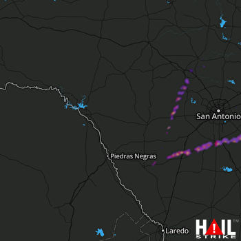 Hail Map Pleasanton, TX 02-25-2018