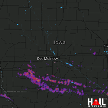 Hail Map West Des Moines, IA 06-26-2019