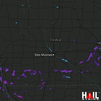 Hail Map Bellevue, NE 08-25-2021