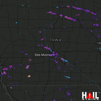 Hail Map Indianola, IA 06-23-2017