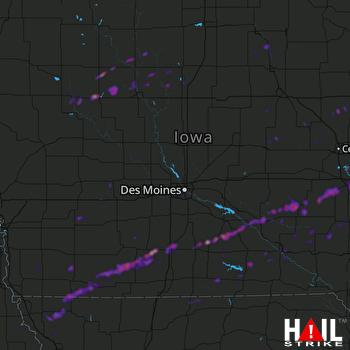 Hail Map Des Moines, IA 05-02-2018