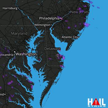 Hail Map Philadelphia, PA 08-19-2019