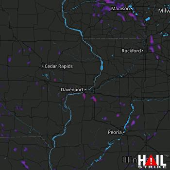 Hail Map Rock Island, IL 07-03-2019