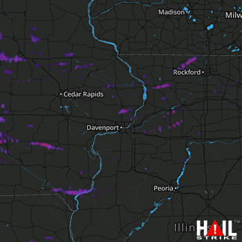 Hail Map Sterling, IL 06-21-2021