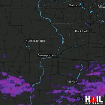 Hail Map Springfield, IL 08-12-2021