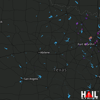 Hail Map Fort Worth, TX 02-07-2019