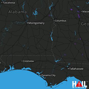 Hail Map Culloden, GA 07-09-2017
