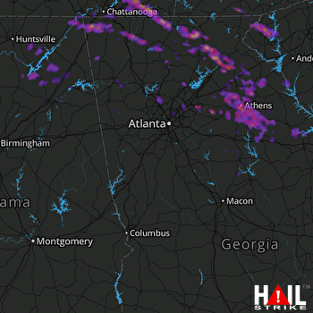 Hail Map Lawrenceville, GA 03-21-2017