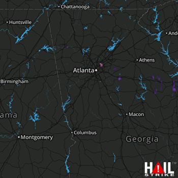 Hail Map Tucker, GA 04-18-2017