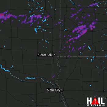 Hail Map Marshall, MN 07-03-2018