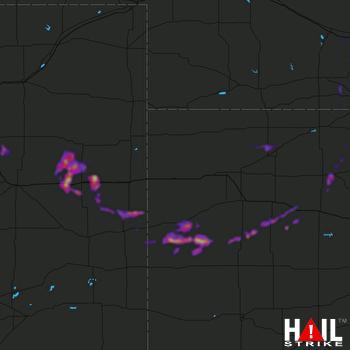 Hail Map Quinter, KS 04-21-2019