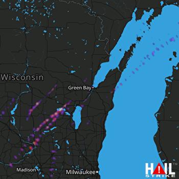 Hail Map Portage, WI 10-09-2018