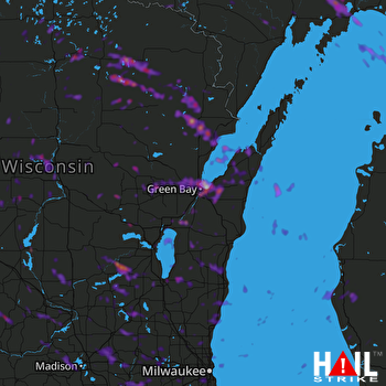 Hail Map Appleton, WI 08-07-2019