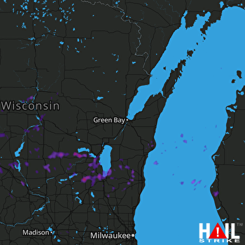 Hail Map Oshkosh, WI 06-12-2017
