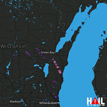 Hail Map Brillion, WI 07-07-2017