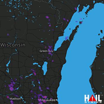 Hail Map Janesville, WI 07-16-2017