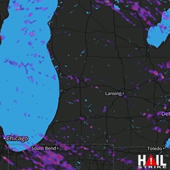 Hail Map Lansing, MI 07-07-2017