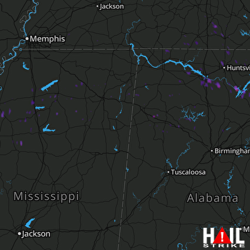 Hail Map Union Grove, AL 07-03-2017
