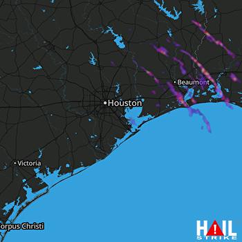 Hail Map Beaumont, TX 03-25-2019
