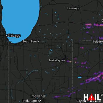 Hail Map Fort Wayne, IN 07-26-2018