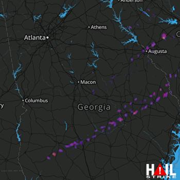 Hail Map Augusta, GA 05-25-2017