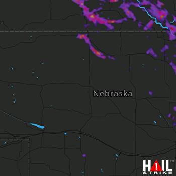 Hail Map Valentine, NE 08-31-2021