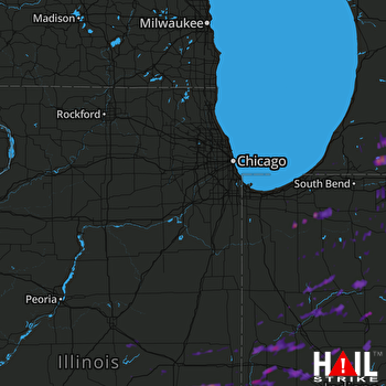 Hail Map Crawfordsville, IN 04-20-2017