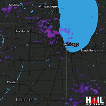 Hail Map Des Plaines, IL 07-12-2017