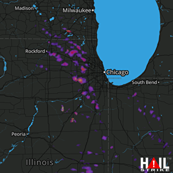 Hail Map Aurora, IL 07-23-2017