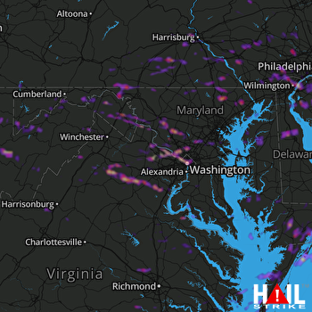 Hail Map Silver Spring, MD 06-03-2019
