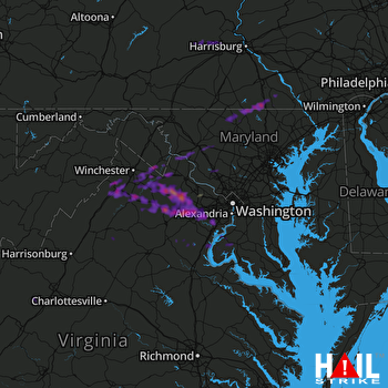 Hail Map Centreville, VA 05-18-2017