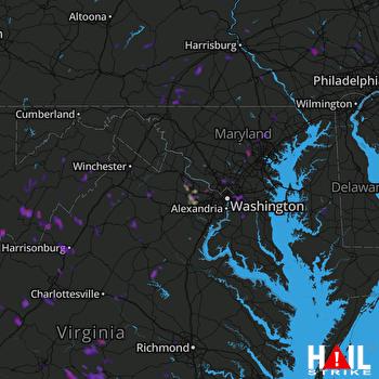 Hail Map Hyattsville, MD 07-18-2017