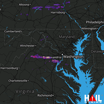 Hail Map Woodbridge, VA 08-11-2017