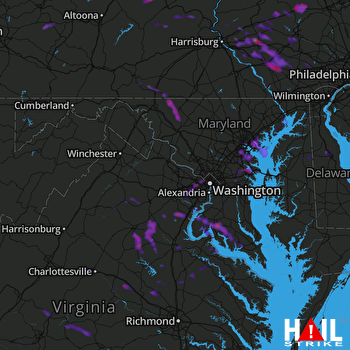 Hail Map Arlington, VA 08-21-2017