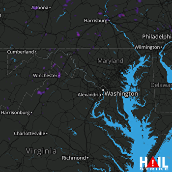 Hail Map Winchester, VA 07-04-2018