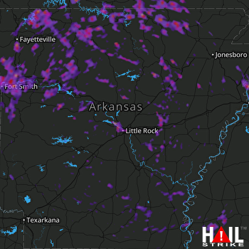 Hail Map Fort Smith, AR 07-08-2017