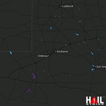 Hail Map MIDLAND/ODSSA 08-11-2019