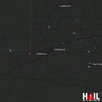 Hail Map Kermit, TX 08-12-2019