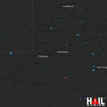 Hail Map Eldorado, TX 03-21-2020