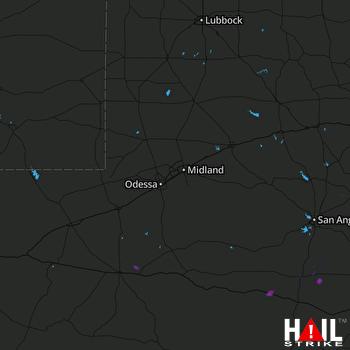 Hail Map MIDLAND/ODSSA 07-08-2017