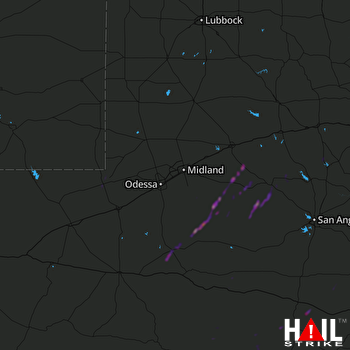Hail Map Garden City, TX 02-21-2018