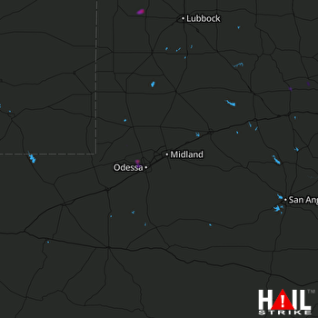 Hail Map MIDLAND/ODSSA 07-08-2018
